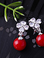 cheap -Women's Cubic Zirconia Clip Earrings - Flower Fashion Red For Wedding / Engagement