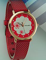 abordables -Mujer Reloj de Pulsera Reloj Casual Plastic Banda Flor / Moda Negro / Blanco / Rojo
