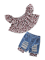 cheap -Kids Toddler Girls' Leopard Short Sleeve Clothing Set