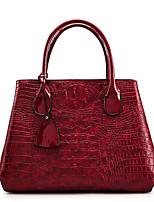 cheap -Women's Bags PU Leather Tote Zipper Black / Red / Brown