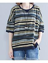 cheap -Women's Basic / Street chic T-shirt - Striped Print