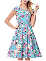cheap -TS - Dreamy Land Women's Basic A Line Dress - Floral Print