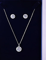 cheap -Women's Cubic Zirconia Jewelry Set - Classic, Fashion Include Drop Earrings / Pendant Necklace White For Wedding / Date