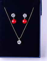 cheap -Women's Cubic Zirconia Jewelry Set - Ball Sweet, Fashion Include Drop Earrings / Pendant Necklace Red For Wedding / Party