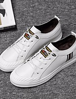 cheap -Men's Shoes Cowhide Fall Comfort Sneakers White / Black