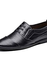 cheap -Men's Shoes Cowhide Leather Fall Comfort Loafers & Slip-Ons for Office & Career Black Brown Khaki