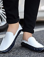 cheap -Men's Shoes Cowhide Spring Moccasin / Comfort Loafers & Slip-Ons White / Blue