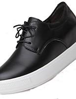 abordables -Femme Chaussures Cuir Printemps Automne Confort Oxfords Talon Plat Bottes Mi-mollet pour Bureau et carrière Noir Rouge