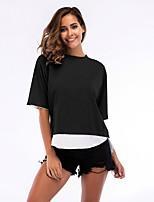 cheap -Women's Basic T-shirt - Color Block Black & White, Patchwork