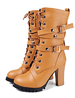 cheap -Women's Shoes PU Spring Fall Fashion Boots Novelty Boots Chunky Heel Round Toe Mid-Calf Boots Rivet Buckle for Office & Career Party &