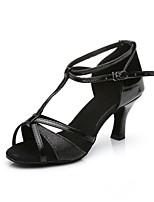 Недорогие -Жен. Обувь для латины Сатин / Искусственная кожа / Дерматин На каблуках Каблуки на заказ Персонализируемая Танцевальная обувь Черный /