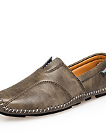 cheap -Men's Shoes Leather Spring Summer Driving Shoes Comfort Loafers & Slip-Ons for Casual Outdoor Black Brown Khaki