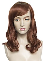 cheap -Synthetic Wig Wavy Layered Haircut Cute Mini Fashionable Design Adjustable Heat Resistant Brown Women's Capless Celebrity Wig Natural