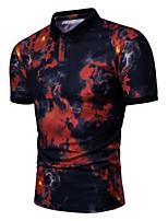 cheap -Men's Basic Polo - Geometric Black & Red, Print