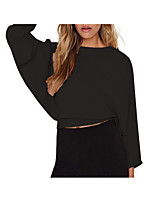 cheap -women's blouse - solid colored round neck