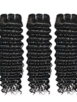 cheap -Brazilian Hair / Deep Wave Curly Natural Color Hair Weaves / Human Hair Extensions 3 Bundles Human Hair Weaves Best Quality / New Arrival / Hot Sale Natural Black Human Hair Extensions Women's