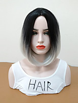 cheap -Synthetic Wig Straight Bob Haircut Ombre Hair Women Gray Women's Capless Natural Wigs Mid Length Synthetic Hair