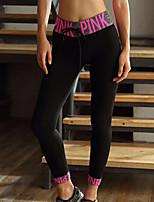 abordables -Femme Pantalon de yoga - Noir, Vert, Fuschia Des sports Lettre et chiffre Corsaire Tenues de Sport Séchage rapide, Respirabilité Elastique