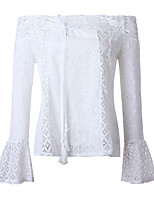 cheap -Women's Basic / Street chic Blouse - Solid Colored Lace Trims