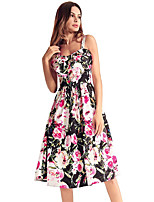 cheap -TS - Dreamy Land Women's Boho Swing Dress - Floral Print