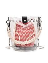 cheap -Women's Bags PU Bag Set Rivet for Shopping / Office & Career Blue / Black / Red
