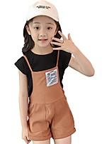abordables -Enfants Fille Couleur Pleine Imprimé Manches Courtes Ensemble de Vêtements