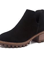 preiswerte -Damen Schuhe Leder Winter Komfort Stiefel Blockabsatz für Schwarz Grau Kamel Khaki