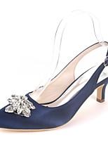 Недорогие -Жен. Обувь Сатин Весна лето Туфли лодочки Свадебная обувь На каблуке-рюмочке Заостренный носок Стразы Тёмно-синий / Светло-коричневый /