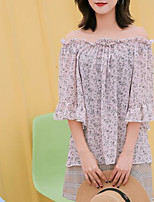 baratos -Mulheres Blusa Vintage Laço / Franjas, Sólido / Geométrica Preto e Vermelho