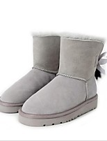 cheap -Women's Shoes Leather Winter Comfort Boots Flat Heel for Black Gray Brown