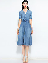 cheap -MARY YAN&YU Women's Work Basic / Street chic Denim Dress - Solid Colored Embroidered V Neck