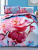 cheap -Duvet Cover Sets Floral 100% Cotton Reactive Print 4 Piece