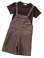 cheap -Kids Girls' Solid Colored Short Sleeves Clothing Set