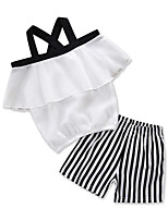 cheap -Kids Toddler Girls' Black & White Solid Colored Striped Sleeveless Clothing Set