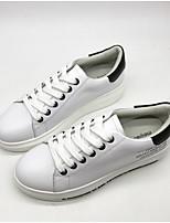Недорогие -Жен. Обувь Кожа Весна лето Удобная обувь Кеды На плоской подошве Круглый носок Белый / Черный / Розовый