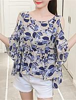 Недорогие -женская блузка - цветной круглый шею