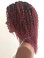 cheap -Remy Human Hair Lace Front Wig Wig Brazilian Hair Curly Layered Haircut 130% Density Ombre Hair / Dark Roots Burgundy Women's Short / Long / Mid Length Human Hair Lace Wig