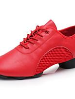 Недорогие -Жен. Обувь для модерна Кожа Оксфорды / Кроссовки Выступление / Тренировочные На низком каблуке Танцевальная обувь Черный / Красный