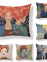 abordables -6 pcs Tissu / Coton / Lin Taie d'oreiller, Décoration artistique / Rétro / Imprimé Forme carrée / Décoratif
