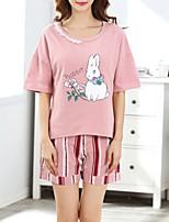 abordables -Col en U Costumes Pyjamas Femme Rayé