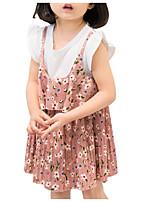 abordables -Bébé Fille Fleur / Couleur Pleine Manches Courtes Robe