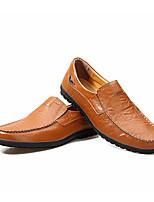 Недорогие -Муж. обувь Кожа Лето Удобная обувь Мокасины и Свитер Черный / Синий / Темно-русый