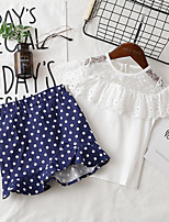 cheap -Kids Girls' Blue & White Polka Dot Sleeveless Clothing Set