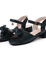 Недорогие -Девочки Обувь Полиуретан Лето С ремешком на лодыжке Сандалии Бант для Черный / Розовый / Миндальный