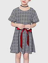 cheap -Kids Girls' Plaid Short Sleeve Dress
