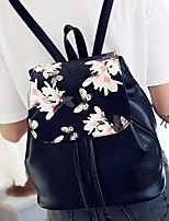 cheap -Women's Bags PU Leather Backpack Pattern / Print / Zipper for Formal / Office & Career Black / Black / White