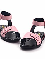 cheap -Girls' Shoes PU Summer Comfort Sandals Buckle for White / Black / Pink
