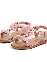 Недорогие -Девочки Обувь Кожа Весна лето Удобная обувь Сандалии Искусственный жемчуг / Пряжки для Белый / Черный / Розовый