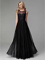 cheap -A-Line Jewel Neck Floor Length Tulle Prom / Formal Evening Dress with Beading by TS Couture®