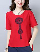 Недорогие -женская футболка - геометрическая шея